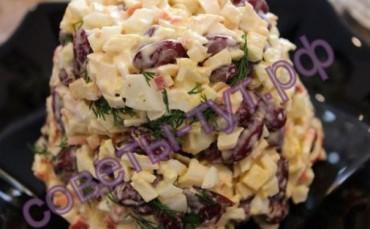 салат из фасоли и крабовых палочек
